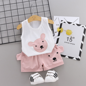 Summer new Children Cotton Cartoon bear pattern two-Pieces vest + shorts (pink)