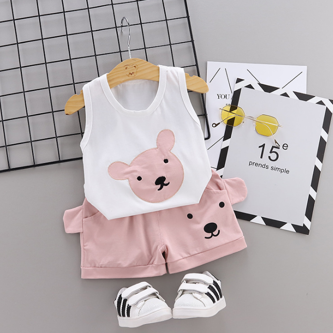 Summer new Children Cotton Cartoon bear pattern two-Pieces vest + shorts (pink)