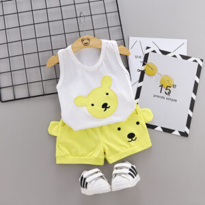 Summer new Children Cotton Cartoon bear pattern two-Pieces vest + shorts (yellow)