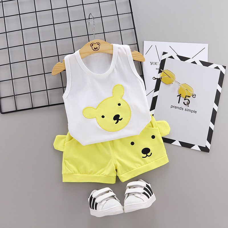 Summer new Children Cotton Cartoon bear pattern two-Pieces vest + shorts (yellow)