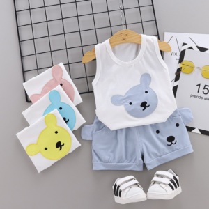 Summer new Children Cotton Cartoon bear pattern two-Pieces vest + shorts (gray)