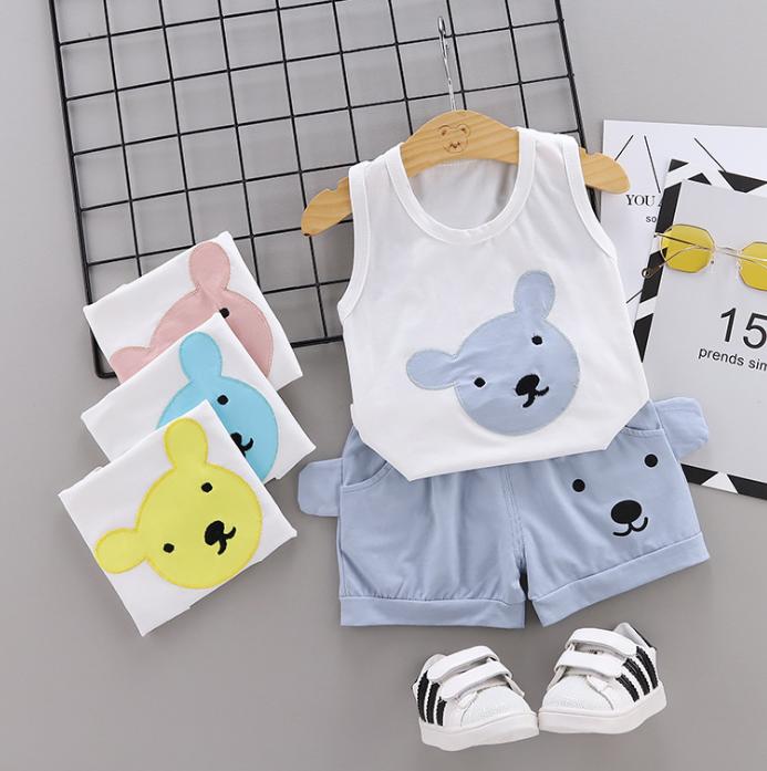 Summer new Children Cotton Cartoon bear pattern two-Pieces vest + shorts (gray)