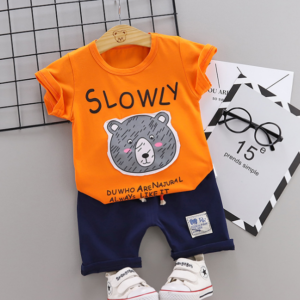 2020 Summer new Children Cotton Cartoon Grizzly bear pattern two-Pieces t-shirt + shorts (orange)