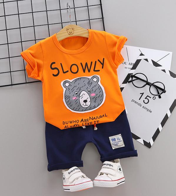 2020 Summer new Children Cotton Cartoon Grizzly bear pattern two-Pieces t-shirt + shorts (orange)