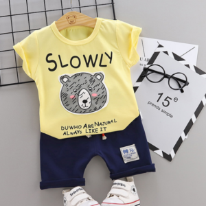 2020 Summer new Children Cotton Cartoon Grizzly bear pattern two-Pieces t-shirt + shorts (yellow)
