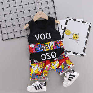 New Summer Cotton cartoon vest+pants set (black)