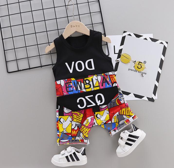 New Summer Cotton cartoon vest+pants set (black)