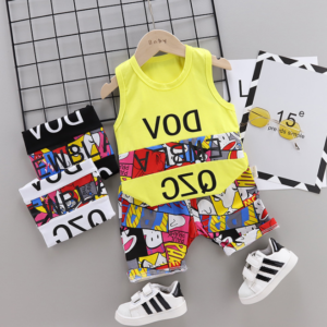 New Summer Cotton cartoon vest+pants set (yellow)