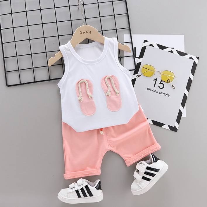 New Summer Cotton cartoon vest+pants set Cartoon flip-flops pattern (pink)
