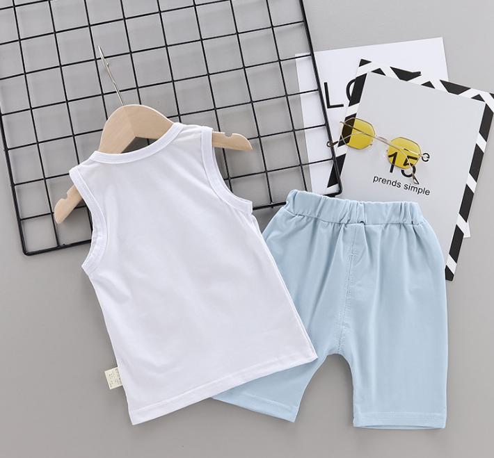 New Summer Cotton cartoon vest+pants set Cartoon flip-flops pattern (blue)