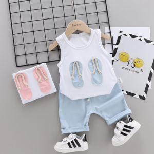 New Summer Cotton cartoon vest+pants set Cartoon flip-flops pattern (blue)