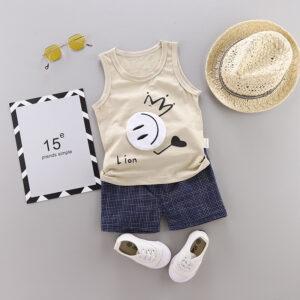 New Summer Cotton vest+pants set cartoon smiley pattern (Khaki)