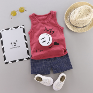 New Summer Cotton vest+pants set cartoon smiley pattern (red)
