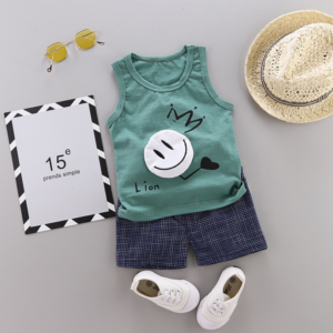 New Summer Cotton vest+pants set cartoon smiley pattern (green)