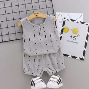 Summer new Children Cotton and linen two-Pieces vest + shorts simple design style arrow elements (gray)