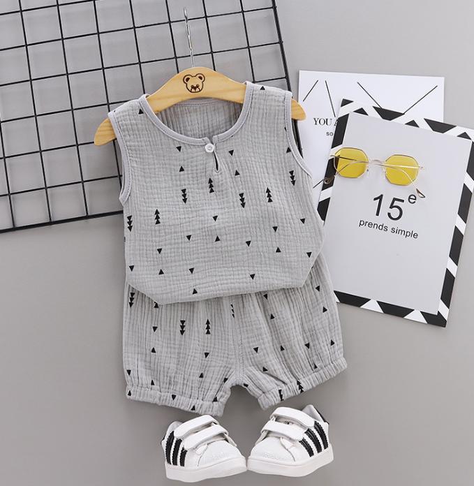 Summer new Children Cotton and linen two-Pieces vest + shorts simple design style arrow elements (gray)