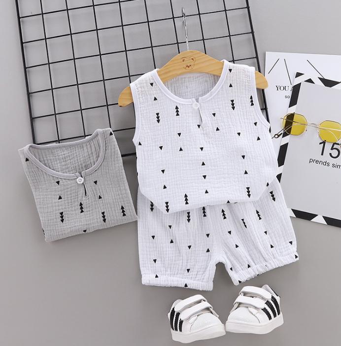 Summer new Children Cotton and linen two-Pieces vest + shorts simple design style arrow elements (white)