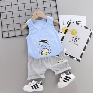 2020 Summer new Children Cotton and linen two-Pieces vest + shorts Cartoon spider web pattern (blue)