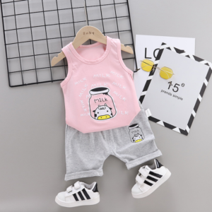 2020 Summer new Children Cotton and linen two-Pieces vest + shorts Cartoon spider web pattern (pink)