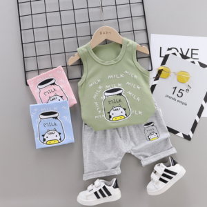 Summer new Children Cotton and linen two-Pieces vest + shorts Cartoon spider web pattern (green)