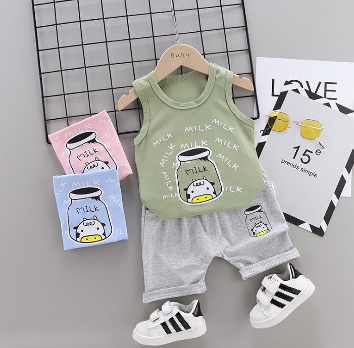 Summer new Children Cotton and linen two-Pieces vest + shorts Cartoon spider web pattern (green)