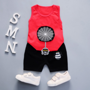 Summer new Children Cotton and linen two-Pieces vest + shorts  Cartoon spider web pattern (red)