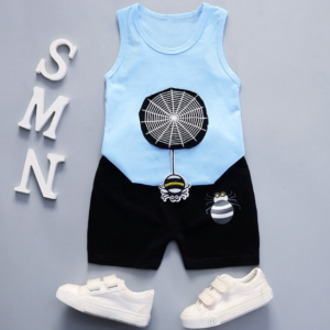 Summer new Children Cotton and linen two-Pieces vest + shorts  Cartoon spider web pattern (blue)