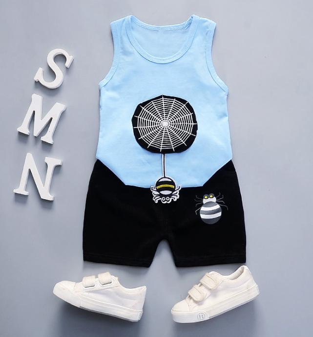 Summer new Children Cotton and linen two-Pieces vest + shorts Cartoon spider web pattern (blue)