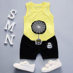 Summer new Children Cotton and linen two-Pieces vest + shorts Cartoon spider web pattern (yellow)