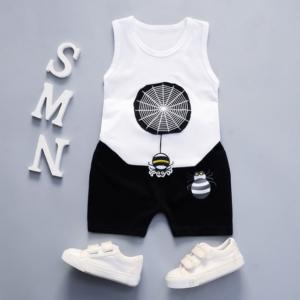 Summer new Children Cotton and linen two-Pieces vest + shorts Cartoon spider web pattern (white)