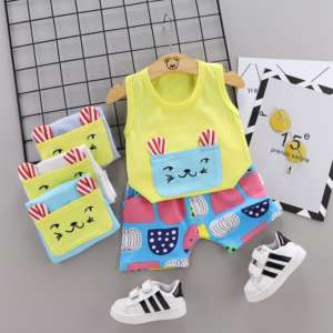 New Summer Cotton Cartoon cat pattern vest + pants set (yellow)