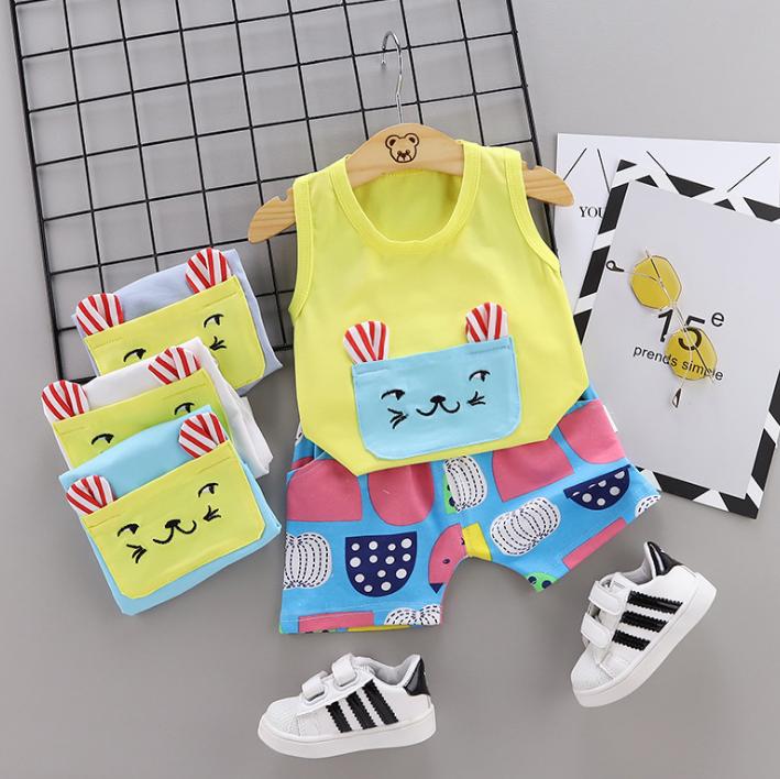 New Summer Cotton Cartoon cat pattern vest + pants set (yellow)