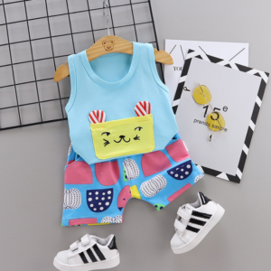 New Summer Cotton Cartoon cat pattern vest + pants set (blue)