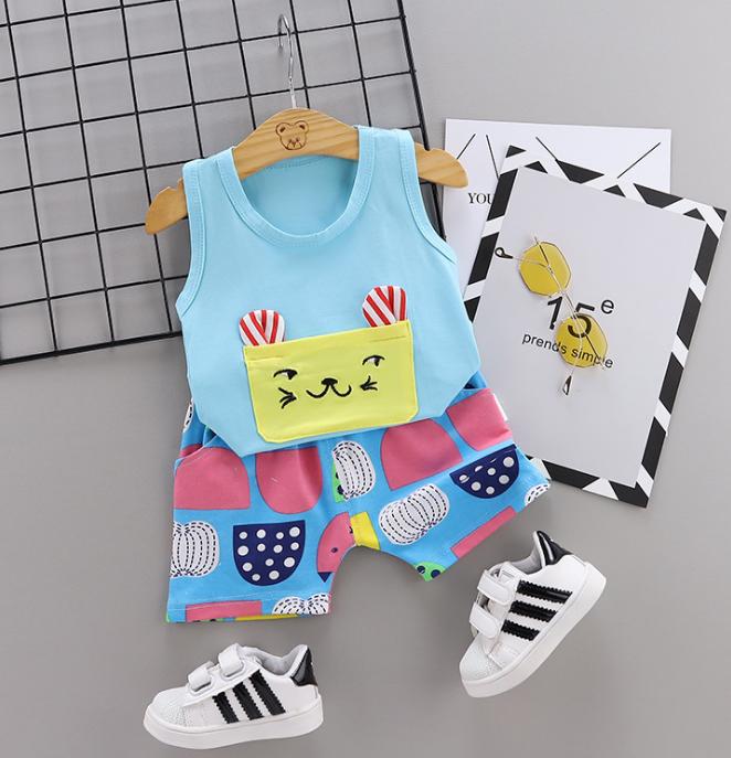 New Summer Cotton Cartoon cat pattern vest + pants set (blue)