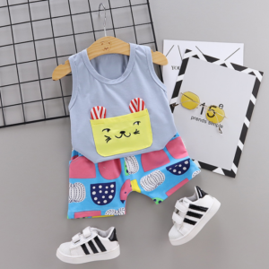 New Summer Cotton Cartoon cat pattern vest + pants set (gray)