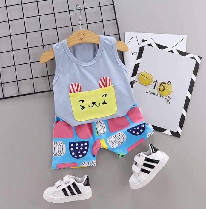New Summer Cotton Cartoon cat pattern vest + pants set (gray)