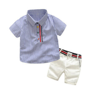 Baby Boys' 2 Piecess Shirt Pants and Bow Tie Set Minimalistic design style striped elements (blue)