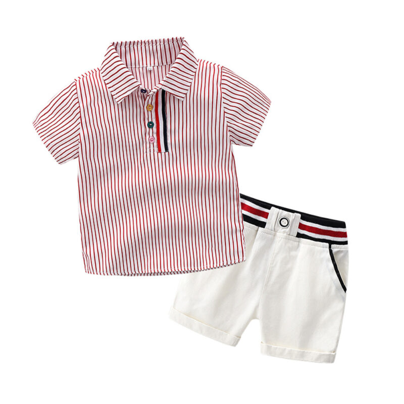 Baby Boys' 2 Piecess Shirt Pants and Bow Tie Set Minimalistic design style striped elements (red)