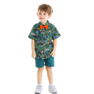 Hawaiian style Leaves pattern Baby Boy 2 Piecess Shirt Pants and Bow Tie Set (dark green)