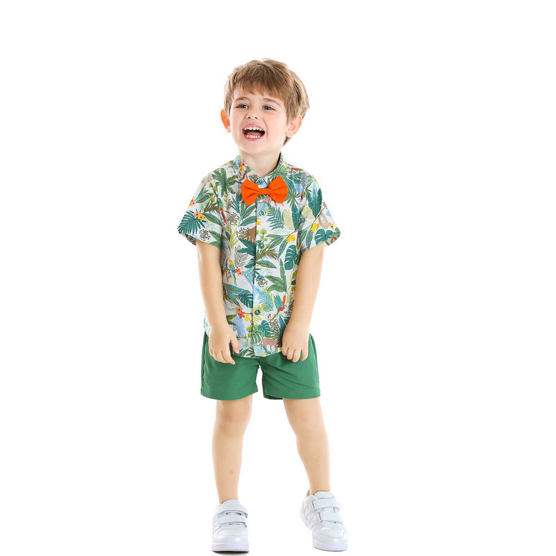 Hawaiian style Leaves pattern Baby Boy 2 Piecess Shirt Pants and Bow Tie Set (green)