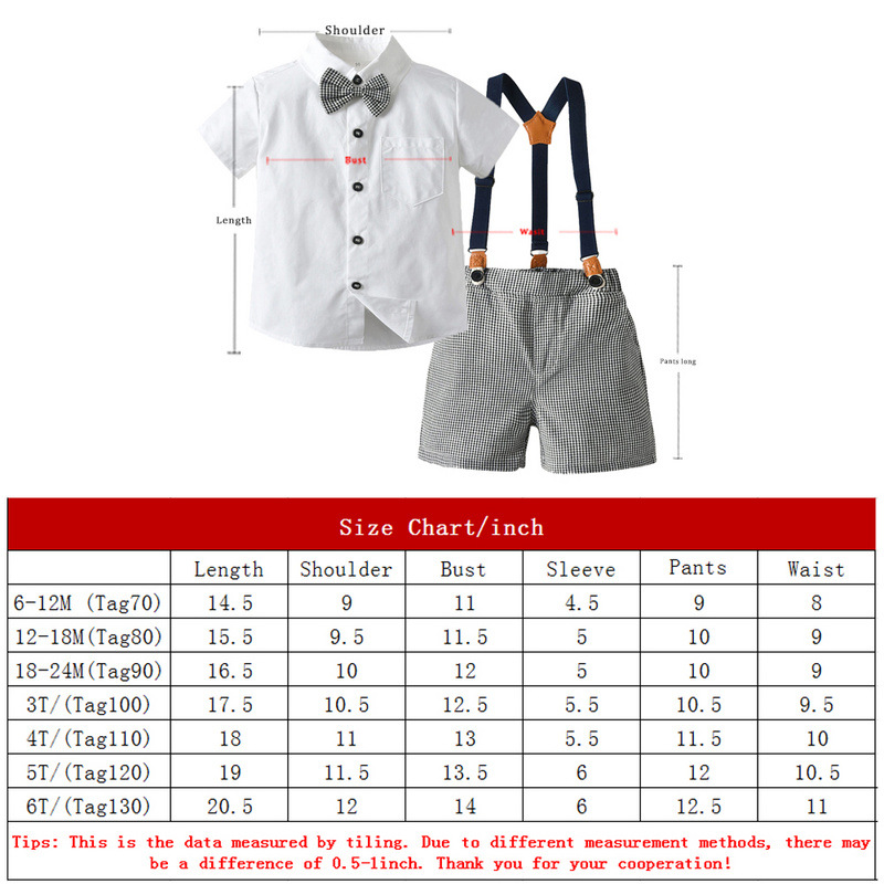 Baby Boys' 2 Piecess Shirt Pants and Bow Tie Set (white)