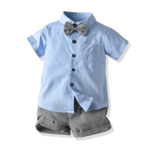 Baby Boys' 2 Piecess Shirt Pants and Bow Tie Set (blue)
