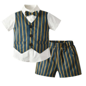 Boy 4-Pieces Vest Set with Dress Shirt, Bow Tie, Vest, and Pants (stripe)