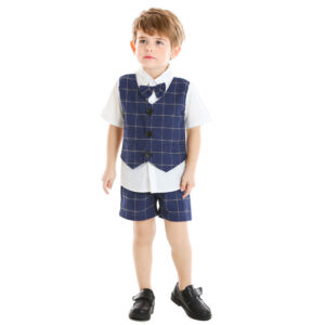 Boy 4-Pieces Vest Set with Dress Shirt, Bow Tie, Vest, and Pants (lattice)
