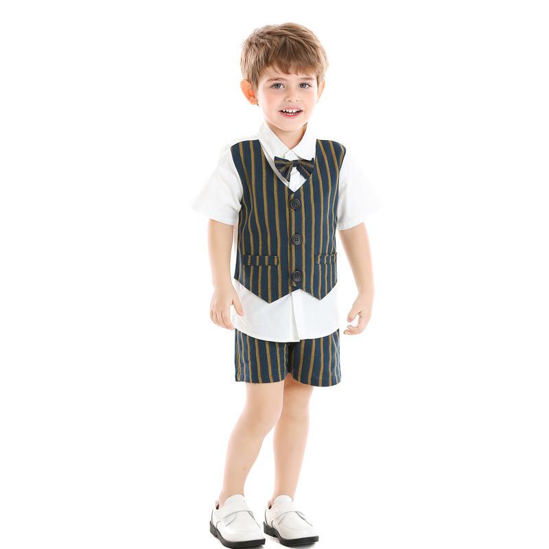 Boy 4-Pieces Vest Set with Dress Shirt, Bow Tie, Vest, and Pants (stripe)