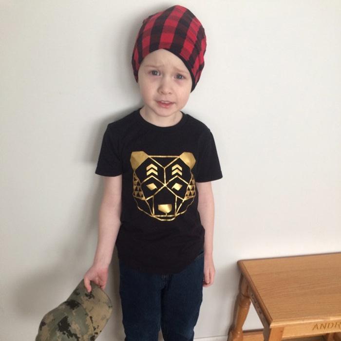 Summer Cotton boy short-sleeved T-shirt golden tiger Printed