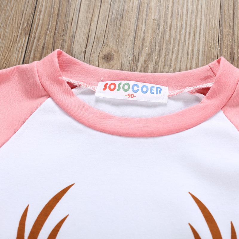 Children long sleeve T-shirt in Spring and Summer Minimalist design style Antlers Printed (red)