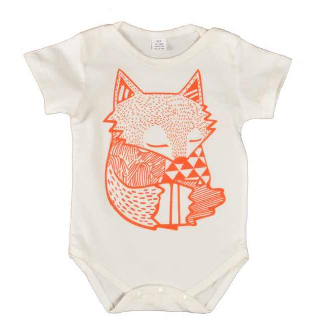 Boy Clothes Newborn Baby bodysuits creeper shorts sleeve Cartoon fox pattern