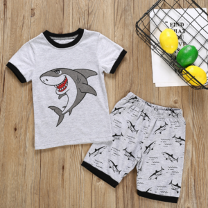 Boy suit Summer short sleeve T-shirt & shorts cartoon big white shark pattern