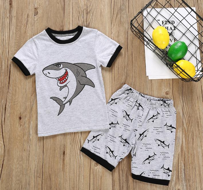 Boy suit Summer short sleeve T-shirt & shorts cartoon big white shark pattern